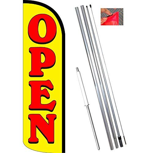 Open (Yellow/Red) Windless Feather Flag Bundle (11.5' Tall Flag, 15' Tall Flagpole, Ground Mount Stake)