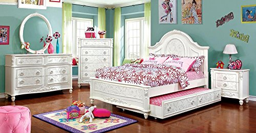 Northington Floral Girls 5 Piece Full Bed, 1 Nightstand, Dresser, Mirror, Trundle - White Wood by FA Furnishing