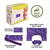 Nature Creation Full Treatment Set- Herbal Heating Pad / Cold Pack - Hot and Cold Therapy (Purple Flower)
