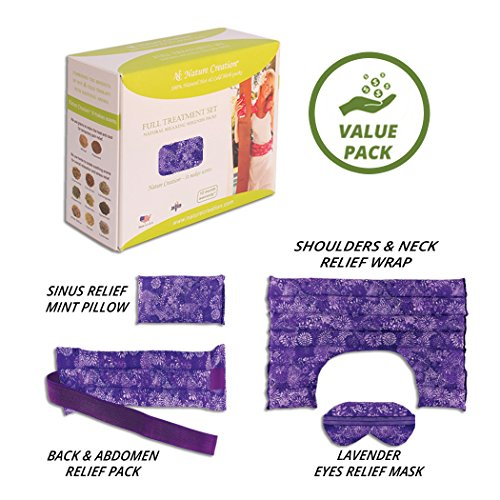 Flower Creation (Nature Creation Full Treatment Set- Herbal Heating Pad/Cold Pack - Hot and Cold Therapy (Purple Flower))