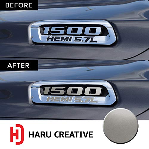 - Haru Creative - Front Hood Emblem Logo Letter Overlay Vinyl Decal Sticker Compatible with and Fits Ram 1500 5.7L Hemi 2019 - Metallic Matte Chrome Silver