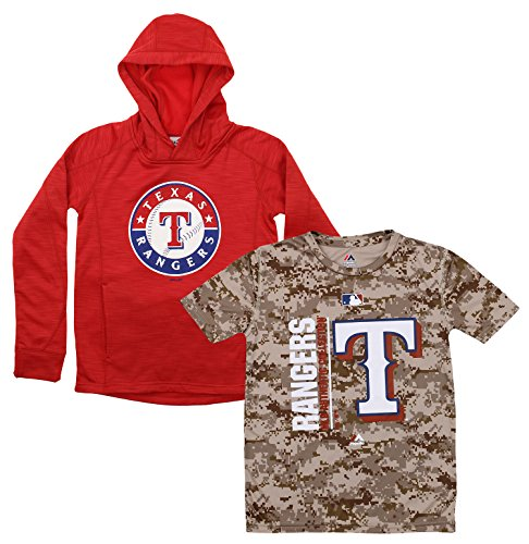 Outerstuff MLB Youth Primary Icon Hoodie and Tee Combo, Texas Rangers Medium (10-12) (Texas Rangers Mlb Hoody)