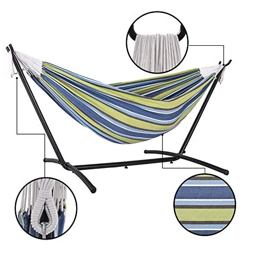 Garden and Outdoor Prime Garden Double Hammock with Steel Stand for 2 Person Includes Portable Carrying Bag, 9 Feet, Elegant Oasis Stripe hammocks