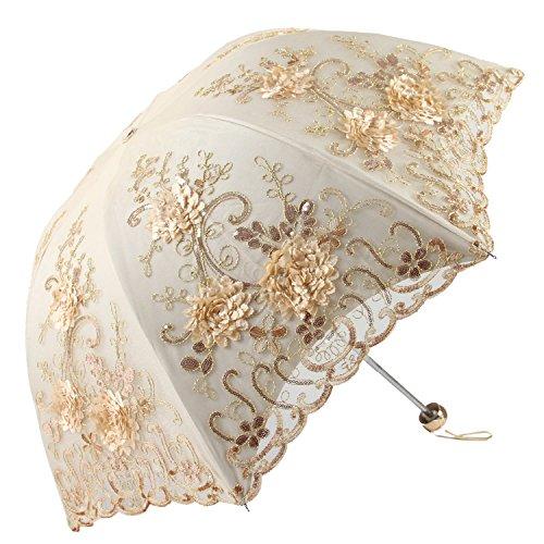 Fold Lace (Apiidoo Folding Sun Gothic Parasol Lace UV Protection Embroidery Bridal Umbrella Three-fold Yellow)