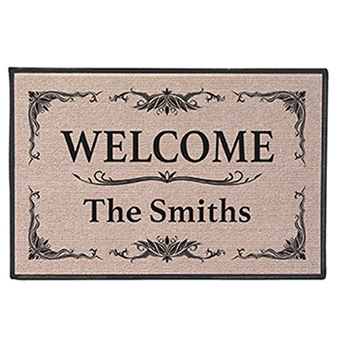 (WHAT ON EARTH Personalized Custom [Your Family Name] Indoor/Outdoor Welcome Mat Doormat - Classic)