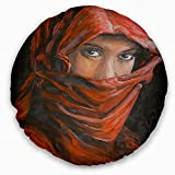 Designart CU6278-20-20-C Arabian Woman in Hijab' Portrait Throw Cushion Pillow Cover for Living Room, Sofa, 20'' Round, Pillow Insert + Cushion Cover Printed on Both Side
