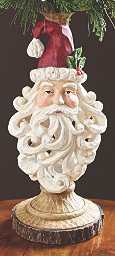 (One Holiday Way Carved Wood-Look Candle Holder with Traditional Santa Head Christmas Decoration)