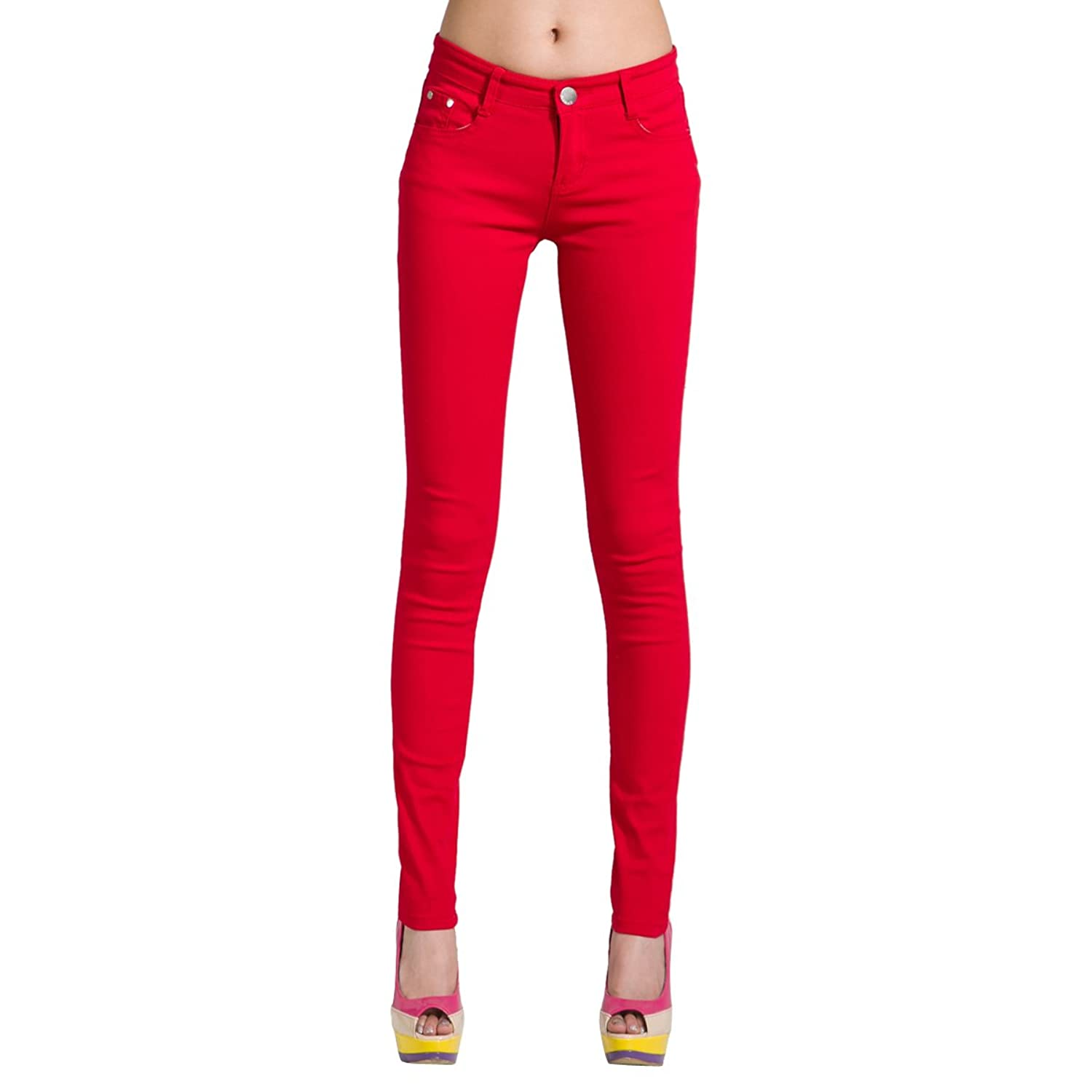 a3ccb881d1ddee Orangetime Women's Butt Lift Slimming Skinny Jeans Mid-Rise Ankle Stretch  Color Pants 5 Pocket Yoga Jeggings