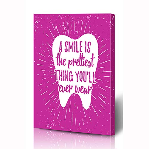 Ahawoso Canvas Prints Wall Art 8x10 Inches Grunge Blue Funny Dental Care Motivational Day Quote Dentist Dentistry Health Floss Design Vintage Wooden Frame Printing Home Living Room Office Bedroom