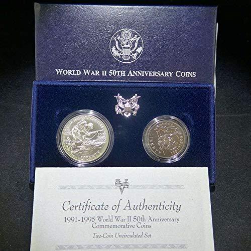 (1993 P World War II 50th Anniversary Silver Dollar/Clad Half Dollar World War II 50th Anniversary Uncirculat US Mint)