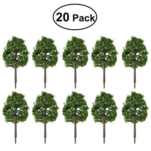 WINOMO 20pcs Model Trees Miniature Landscape Scenery Train Railways Trees Scale 1:100 Dark Green (Scale O Trees)