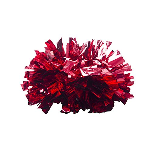 1 Pair CJLM Metallic Cheerleader Pom Poms Cheerleading Ball Dance School Party Fancy Favors Costume Accessory Sports Pompoms Cheer [Red]