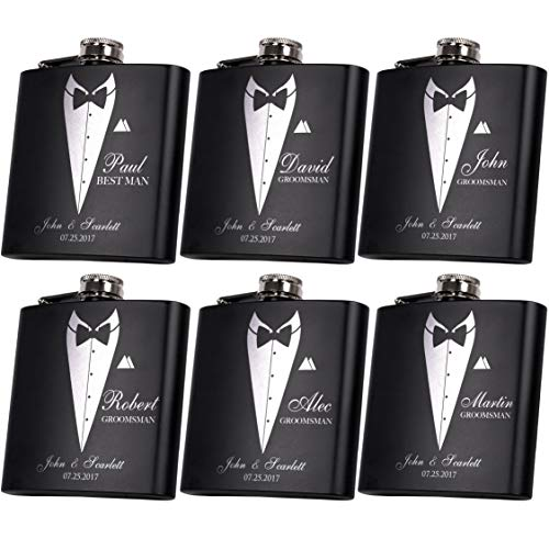 (Set of 6, Set of 3, Single - Personalized Flask, Groomsmen Gift, Customized Groomsman Flasks, Wedding Favors, Matte Black ...)