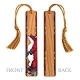 Wood Bookmark with Fox Artwork Painting by Kathleen Barsness - Includes Copper Color Rope Tassel - American Made - Search B0799RN9L6 to see personalized version.