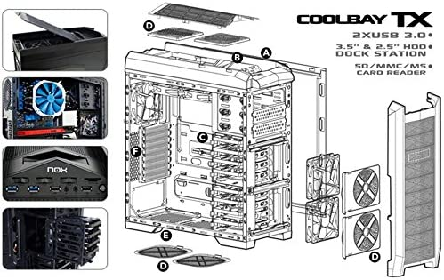 Nox Coolbay TX - NXCBAYTX - Caja PC, ATX, 3.0, Color Negro: Nox: Amazon.es: Informática