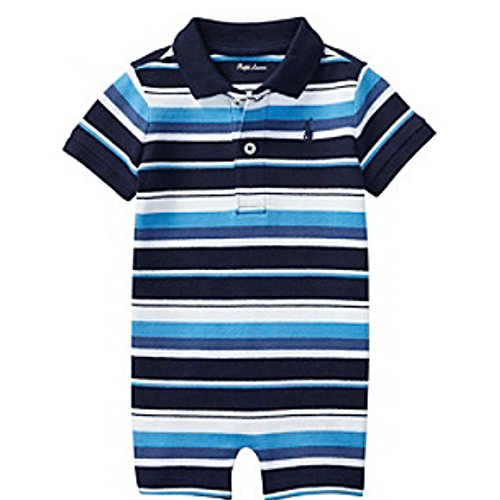 Ralph Lauren Baby Boy Striped Cotton Polo Shortall Navy Multi