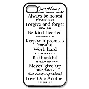Parason Bible Quotes IPhone 4/4s Case Cheap for Girls, Case for Iphone 4 for Girls [Black]