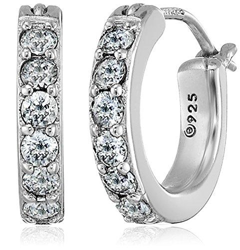 Platinum or Gold-Plated Sterling Silver Swarovski Zirconia Hoop Earrings