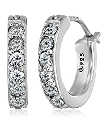Plated Sterling Silver and Swarovski Zirconia Hoop Earrings (3/4 cttw)