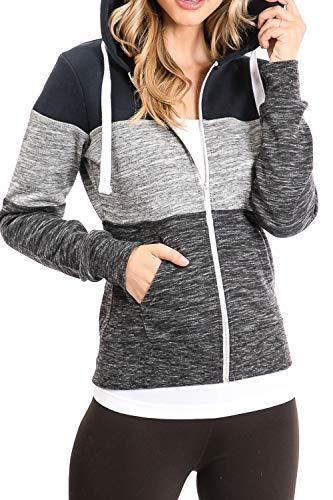 Urban Look Womens Active Long Sleeve Fleece Zip Up Hoodie with Plus Size