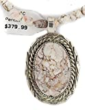 $580 Handmade Authentic Silver Made By Charlene Little Navajo Natural White Buffalo Turquoise Native American Necklace