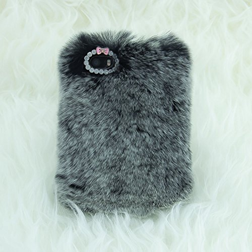 "Price comparison product image iPhone 6S Plus Case, Firefish [Winter Fit] With Tiny Exquisite Bowknot Warm Fluffy Touch Slim Fur Case Cover for Apple iPhone 6/6S Plus (5.5"")+ Premium Stylus and Pluggy -Grey"