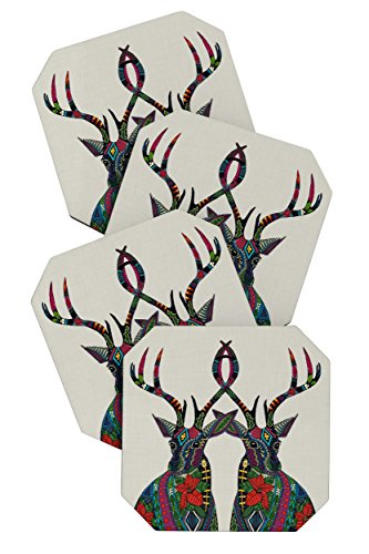 Deny Designs Sharon Turner Poinsettia Deer Coasters, Set of 4