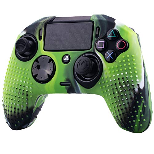 (YoRHa Studded Dots Silicone Rubber Gel Customizing Cover for NACON Revolution PRO PS4 controller [Origin & V2] x 1(Camouflage Green))