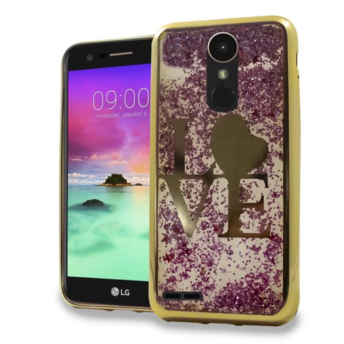 LG Stylo 3 Stylus 3 Stylo 3 Plus Luxury Sparkling CHROME Glitter Motion LOVE GOLD case for Boost Mobile / MetroPCS / Sprint / T-Mobile (Lg Motion Cases Pcs Phone Metro)