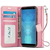 J&D Case Compatible for Galaxy J8 Case, [Wallet Stand] [Slim Fit] Heavy Duty Protective Shock Resistant Flip Cover Wallet Case for Samsung Galaxy J8 Wallet Case - Pink