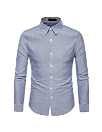 Cottory Men's Pure Color Spread-Collar Long Sleeve Slim Fit Button Down Dress Shirt