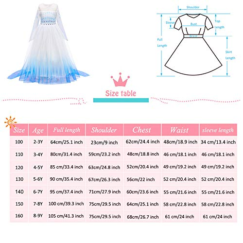 YOJOJOCO Princess Costume Halloween Girls' Dresses Birthday Party Dress Up Clothes for Little Girls Toddlers (5Y - 6Y, White+Blue)