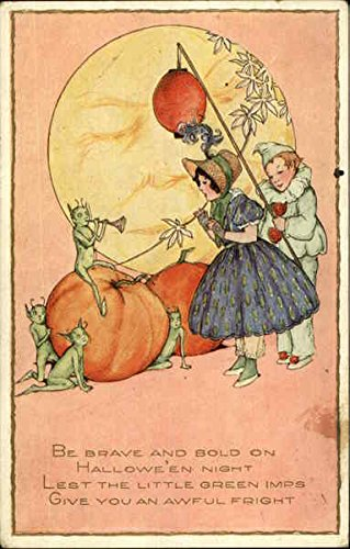 Pumpkins, Green Imps, And Two Children In Costume Halloween Original Vintage Postcard (Imp Costume)