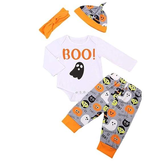 Camiseta Tirantes niño,BBestseller Ropa bebesBaby Carta de Manga Larga Imprimir Halloween Hare + Pants + Hat + Hair Strap Set de Cuatro Piezas Pijama Bebe ...