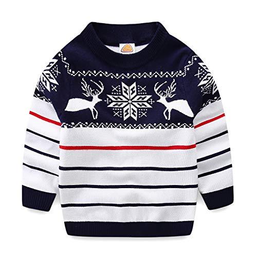 Mud Kingdom Boys Sweaters Christmas Reindeer Stripe