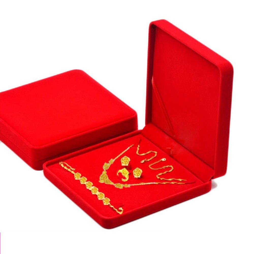 Junning Jewelry Set Velvet Box Necklace Earring Ring Necklace Bracelet Gift Display Case Wedding Jewelry Storage Holder (Red)