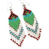 HANDMADE LAVISHING GREEN CLEAR WHITE BUGLE SEED BEADS BEADED EARRINGS
