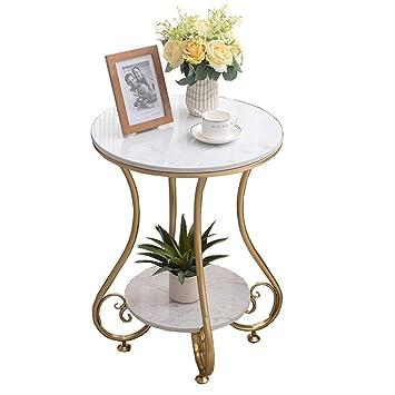 A-Nice Table Basse Ronde en marbre, Structure en métal ...
