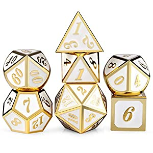 White with Gold Number DND Dice Sets,Soild Metal Die with Free Silver Metal Tin for Dungeons and Dragons D&D Role Playing Game Tabletop Games
