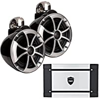 Wet Sounds ICON8-BFC 8 Black Fixed Clamp Tower Speakers & Wet Sounds HT-2 600 Watt Amplifier