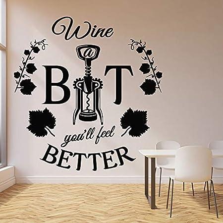 fancjj Mejores Palabras Tatuajes de Pared Sacacorchos de Vino Abrebotellas Cita de Vid Restaurante Bar Decoración Interior Vinilo Ventana Pegatinas Mural