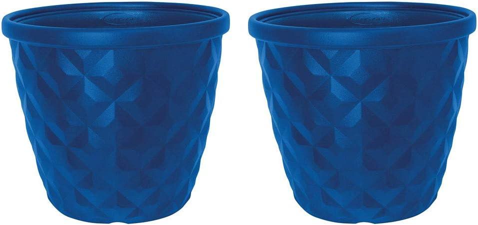 "Suncast 16"" Pinehurst Resin Flower Planter Pot - Contemporary Weather-Resistant Lightweight Flower Pot for Indoor and Outdoor Use, Home, Yard, or Garden - Blue - Set of 2"
