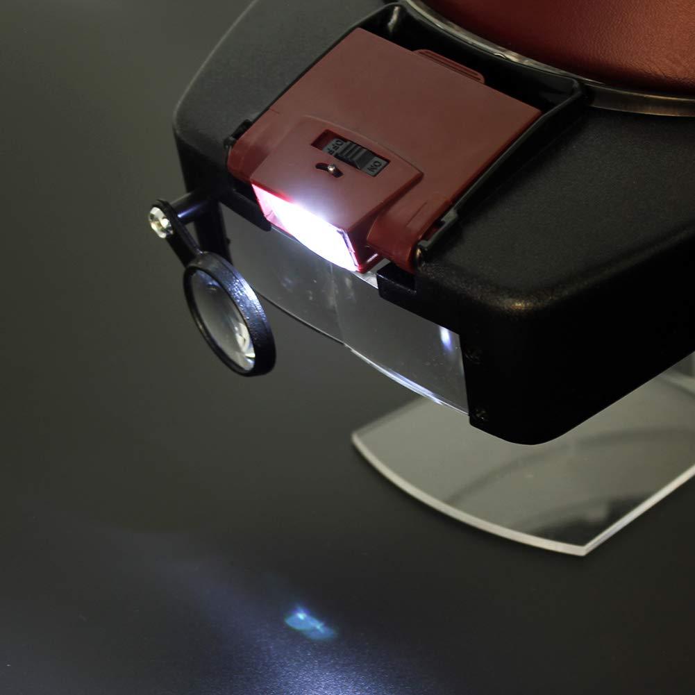 Lupa con LED Luces Lupas De Gran Gran Gran Aumento para Modelismo,Reparaciones,Coser,Soldadura,Eliminar Piojos,Pegar Piezas Pequeñas,Joyería Y Relojería,Negro 007290