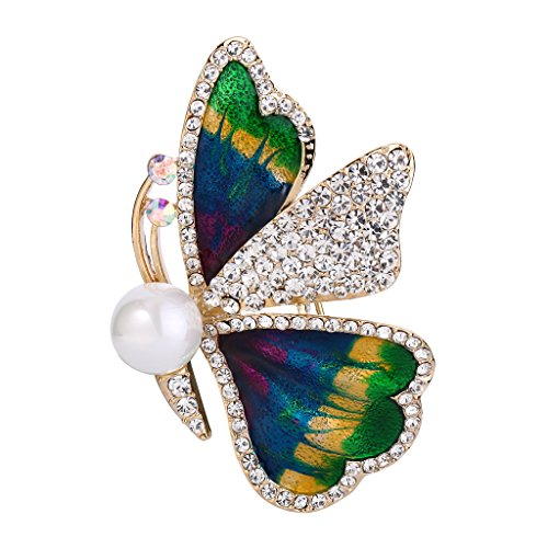BriLove Women's Wedding Bridal Brooch Pin with Crystal Simulated Pearl Enamel Butterfly Green Gold-Tone