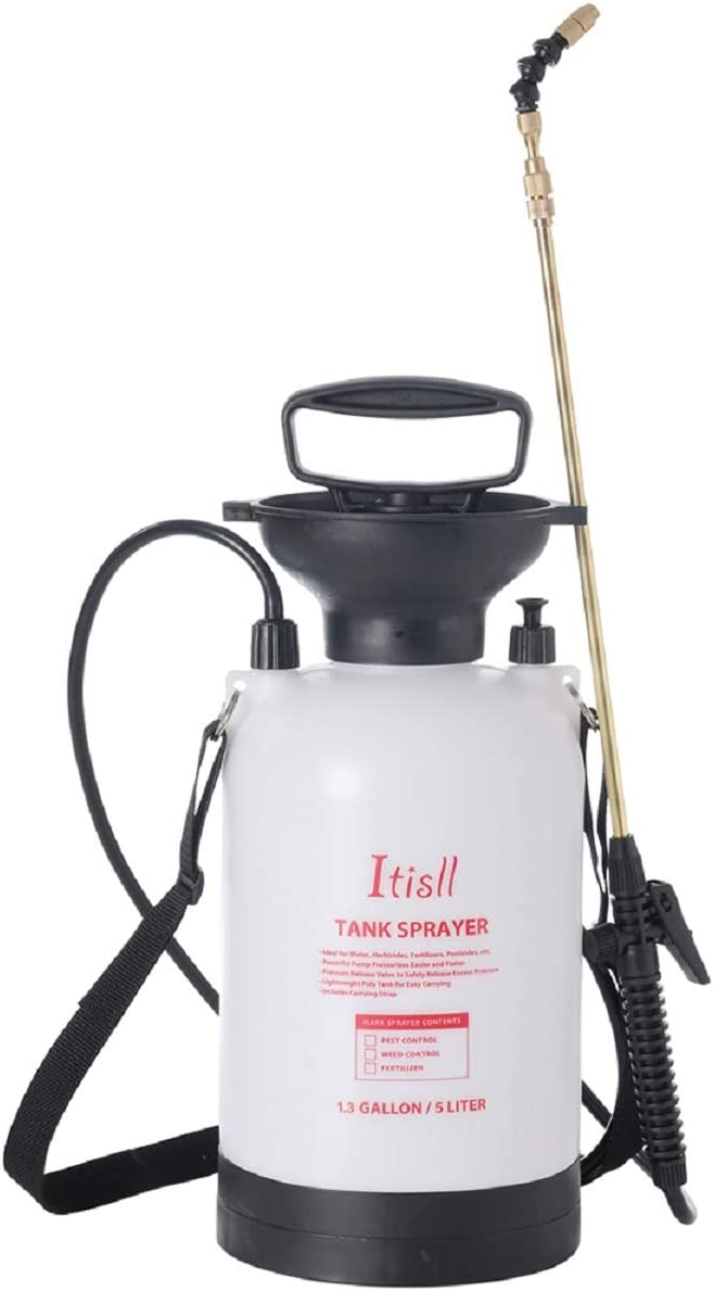 ITISLL 1.3Gallon Garden Pump Sprayer Portable Yard & Lawn Sprayer with Telescopic Brass Wand Pressure Relief Valve and Shoulder Strap for Weeds Plants 5 liters (820NF5)