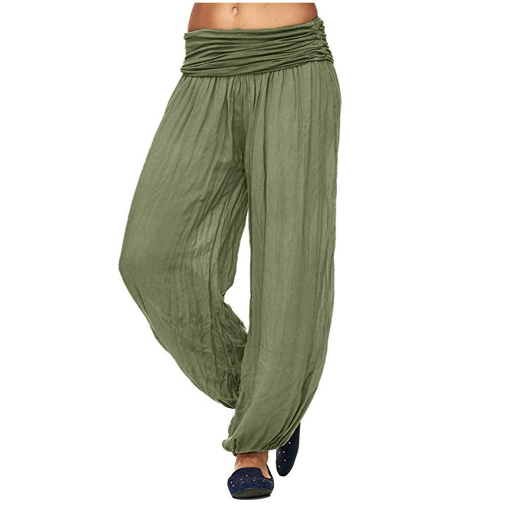 LUXISDE Trousers for Women High Waisted Women High Waist Harem Bandage Elastic Waist Stripe Casual Pants(Army Green,M) by LUXISDE (Image #1)
