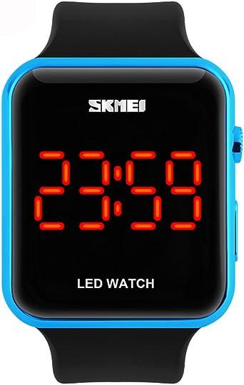 Reloj digital deportivo Amstt sumergible 30 m, luz led, diseño sencillo, reloj de pulsera, policarbonato de plástico para reloj neutral (color azul): Amazon.es: Relojes
