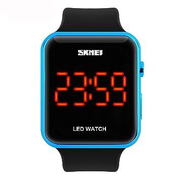 Amstt Muchachos de los Hombres del Reloj Digital Muchachas de Las Mujeres de 30 Metros Impermeable de los Deportes del Reloj Rectangular Neutra LED (Azul de ...