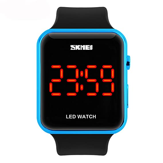 amstt deporte reloj 30 m impermeable LED reloj Digital de diseño sencillo reloj de pulsera PC plástico para Neutral reloj (azul)): Amazon.es: Relojes