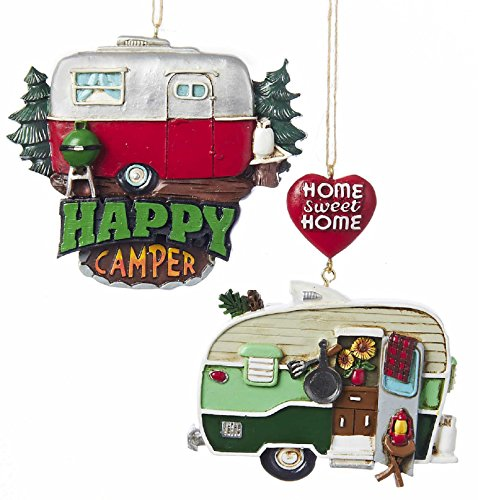 Resin Painted Camper Hanging Ornament - Set OF 2 -